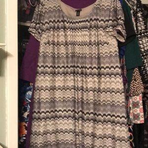 New Directions Dress Silver B&W Knit 22W